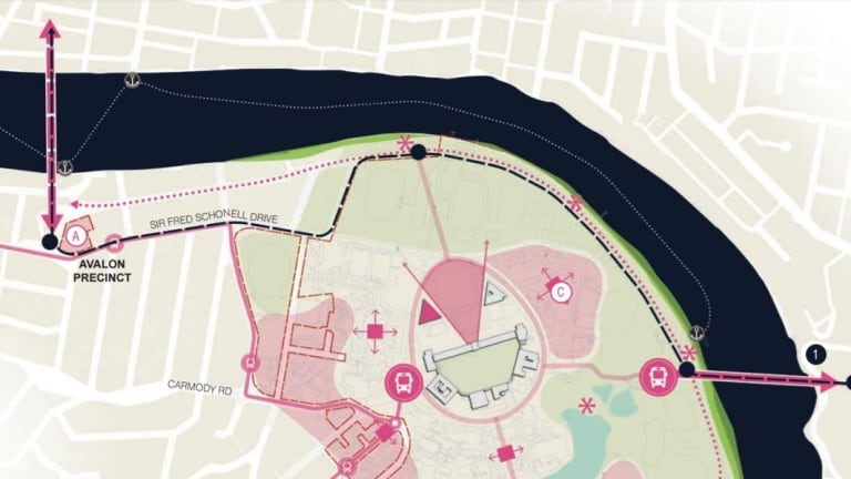 The University of Queensland master plan 2017 showing the proposed bridge from St Lucia across to West End's Orleigh Park.
