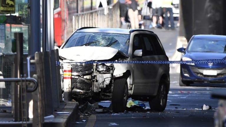The car allegedly driven by Saeed Noori in Flinders Street last week.