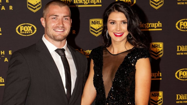 In happier times: Kieren Foran and Rebecca Pope at the Dally M Awards in 2013.