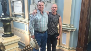 Abuse survivors Gerard Morrow (left) and Tim Lane (right) in Ballarat.