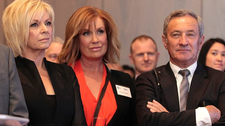 Nine's Ken Sutcliffe with (right) Liz Hayes and Tracy Grimshaw during the official listing of Channel Nine digital on the ASX in 2013.