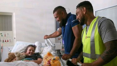 For the kids: Frank Pritchard and Reni Maitua at the Randwick Children's Hospital.