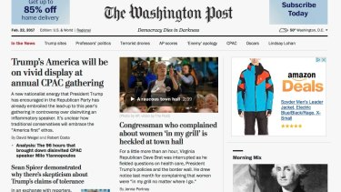 """<i>The Washington Post</i>  website with its new motto, """"Democracy Dies in Darkness""""."""