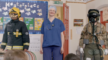 A female firefighter, surgeon and fighter pilot surprise schoolchildren in the Upworthy video.