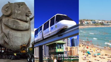 New home?: The big Merino, the monorail and Bondi would be more than welcome in Parramatta.