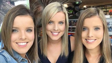 Triplet sisters (from left) Amy, Sophie and Kate Taeuber of Adelaide.