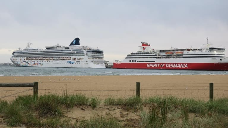 The Norwegian Star moored next to the Spirit of Tasmania.