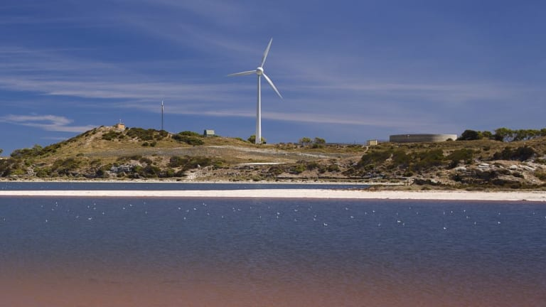 """The """"offending"""" wind turbine on Rottnest Island."""