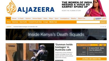 The Al Jazeera English homepage on Monday morning (AEDT).