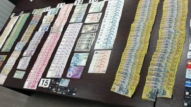 Police seized cash in many denominations at the hotel in Serbia.