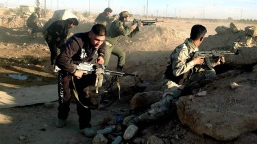 Iraqi security forces photographed fighting Islamic State militants in Ramadi earlier this month.