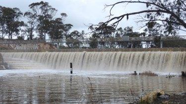 Water spilling from Laanecoorie Reservoir, west of Bendigo.