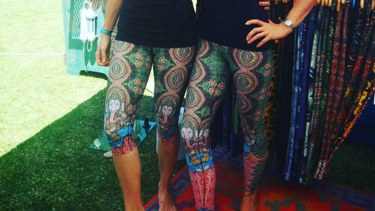 Ganesha leggings from Flow Yoga Wear on the Gold Coast.