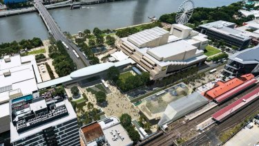 Artists' impression of the Cultural Centre precinct following Brisbane Metro alterations.