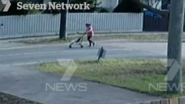 CCTV footage of Sofina Nikat pushing daughter Sanaya Sahib in a stroller.