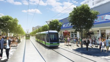 An artist's impression of the proposed Canberra light rail at the Gungahlin interchange.