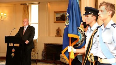Governor General Sir Peter Cosgrove addresses Air Force Cadets at the 75th anniversary event.