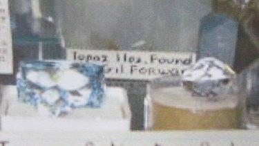 Some of the stolen topaz gems including, on the left, Big Blue.