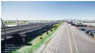 The West Gate Tunnel's elevated viaduct to cover the existing Footscray Road.