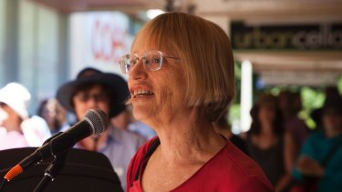 Greens MLA Caroline Le Couteur adresses protesters at Curtin Square.