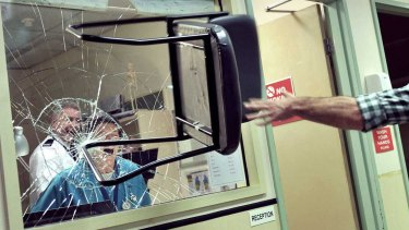 A still from a 2015 anti-ice campaign. There were 8627 reports of occupational violence in hospitals in the year to July.