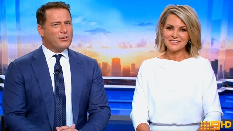 Karl Stefanovic in his white shirt and blue tie, alongside Today Show co-host Georgie Gardner.