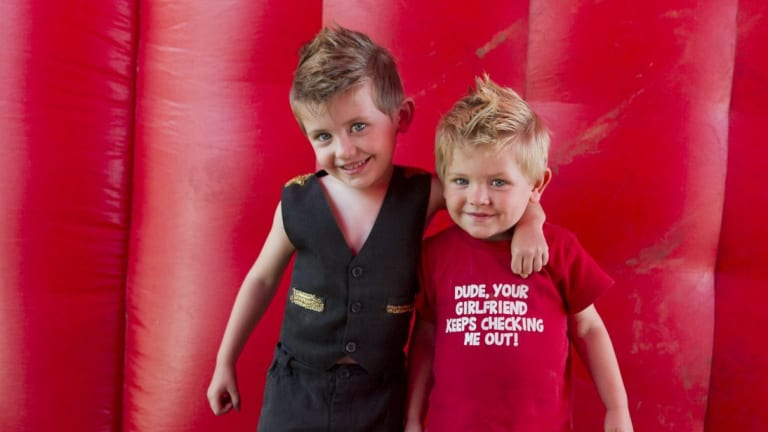 Sixth generation circus performer Hudson Lennon, 4 and his brother Denver Lennon, 2 at The Moscow Circus.