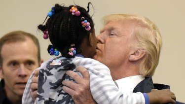 President Trump during his meet with victims of Hurricane Harvey.