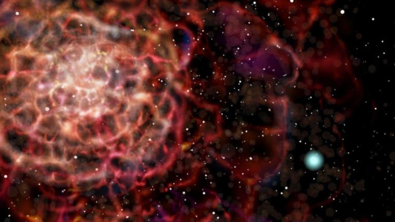 An artist's impression of a white dwarf supernova explosion.