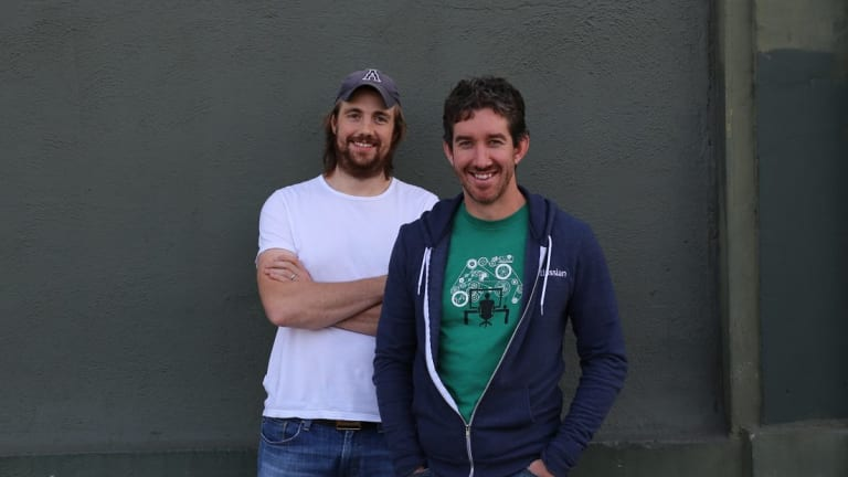 Atlassian co-founders Mike Cannon-Brookes, left, and Scott Farquhar stuck to their guns and refused to hire sales staff ... and have never regretted the decision.