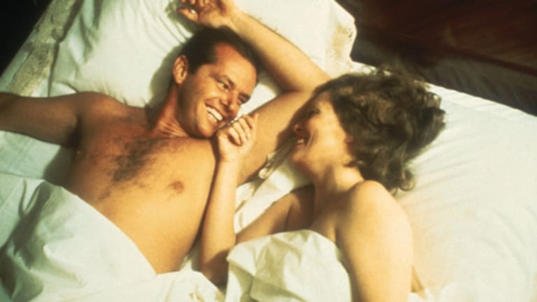 Jack Nicholson and Faye Dunaway in scene from the movie Chinatown.