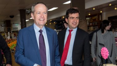Bill Shorten in his seat of Maribyrnong with NSW senator Sam Dastyari in August.
