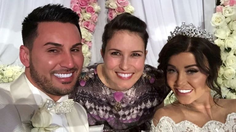 Salim and Aysha Mehajer with Missy Higgins, centre, who sang at the wedding.