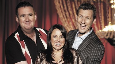 Alan Brough (left), Myf Warhurst and Adam Hills are getting back together for a one-off edition of  Spicks and Specks.
