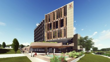 Projections of what the new Bruce Hall residential towers at the Australian National University will look like.