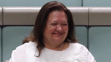 Gina Rinehart at the maiden speech of Barnaby Joyce at Parliament House in 2013.