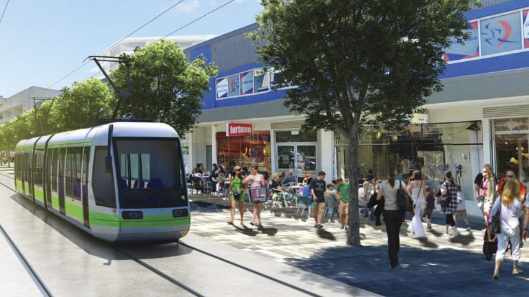 An artist's impression of tram lines in the centre of Gungahlin.