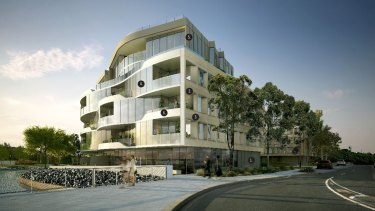An artists impression of a six-storey mixed commercial and residential development planned for one of Kingston foreshore's prime waterfront spots.