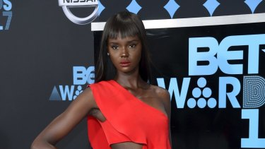 Duckie Thot arrives at the BET Awards at the Microsoft Theater.
