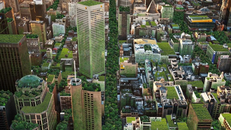 An artist's impression of Melbourne covered in rooftop gardens and roadway park created by Anton Malishev as part of the City of Melbourne's Urban Forest Art and Design competition.