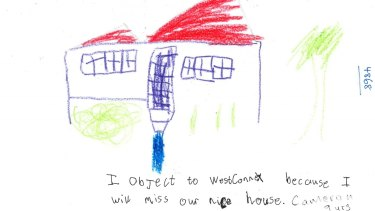 A nine-year-old succinctly raises his concerns about the Westconnex motorway project.