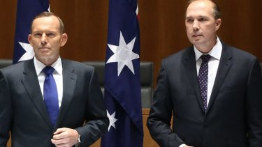 Joke under fire: Peter Dutton with Tony Abbott.