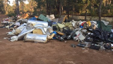 The rubbish dumped in the Jarrahdale Forest had the name and address of people on boxes.