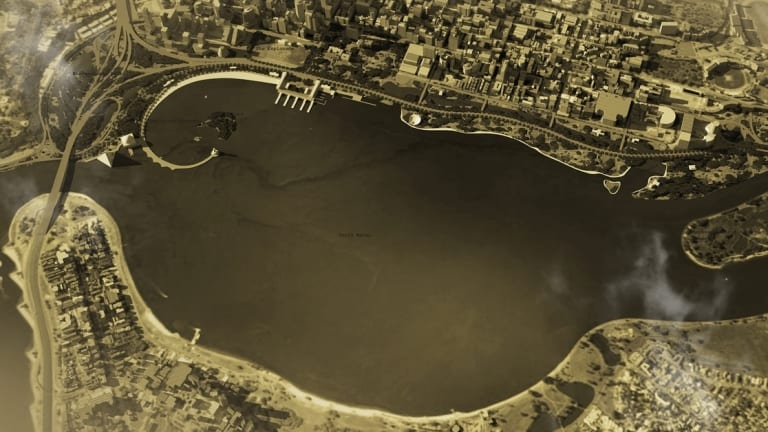 A 1991 competition winning scheme to recreate a natural shoreline landscape.