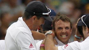In happier times: Kevin Pietersen and Graeme Swann celebrate a Swann wicked in 2011.