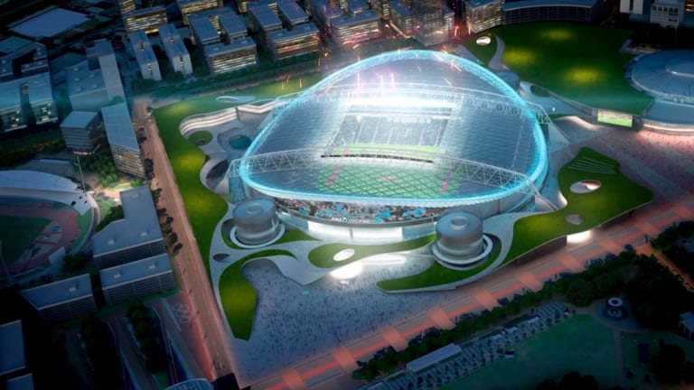 An artist's impression of the proposed new rectangular ANZ Stadium, which critics say is a waste of money.