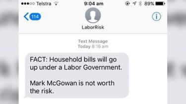 The anti-Labor text message.