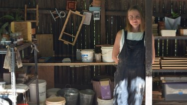 Brick maker Clare Kennedy in her workshop.