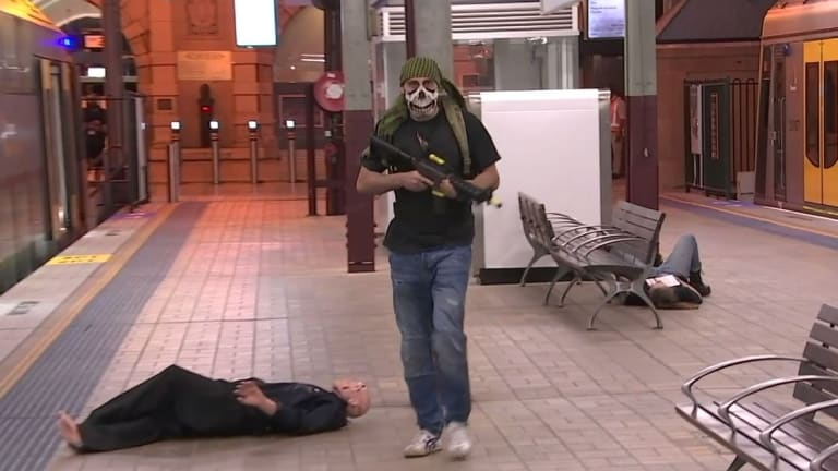 Props, including mannequins and costumes, were used throughout the exercise at Central Station.