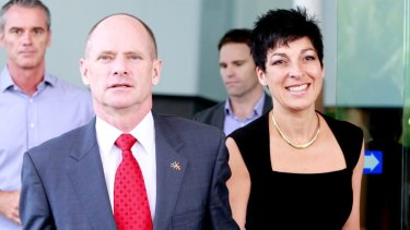 Premier Campbell Newman with his wife Lisa leaving their hotel for the funeral in Cairns.